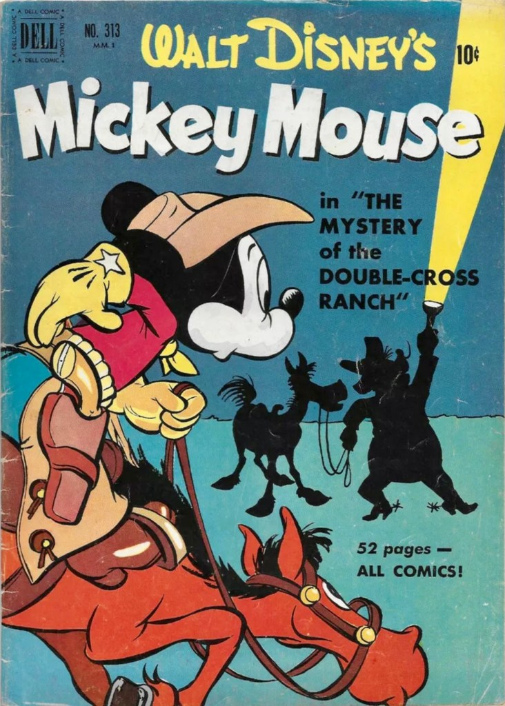 Omslag till Four Color Comic #313 (1950), Walt Disney's Mickey Mouse in the Mystery of the Double-Cross Ranch. ©Dell/Disney