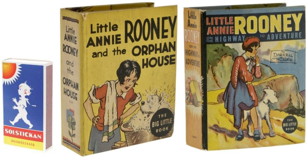 Big Little Book #1117 Little Annie Rooney and the Orphan House (1936) och #1406 Little Annie Rooney on the Highway to Adventure (1938). ©Whitman